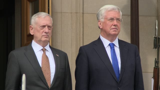 Honor Cordon at the Pentagon US Secretary of Defense James Mattis welcomes United Kingdom Secretary of State for Defense Michael Fallon after the...