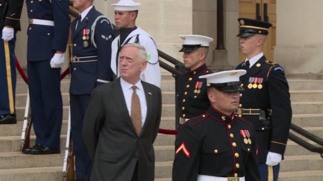 Honor Cordon at the Pentagon US Secretary of Defense James Mattis welcomes United Kingdom Secretary of State for Defense Michael Fallon