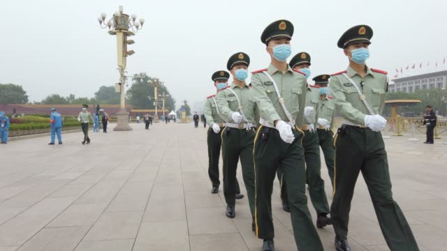 honor guard in tiananmen square,beijing,china. - tiananmen square stock videos & royalty-free footage