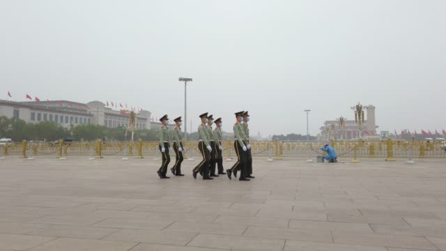 honor guard in tiananmen square,beijing,china. - chinese language stock videos & royalty-free footage