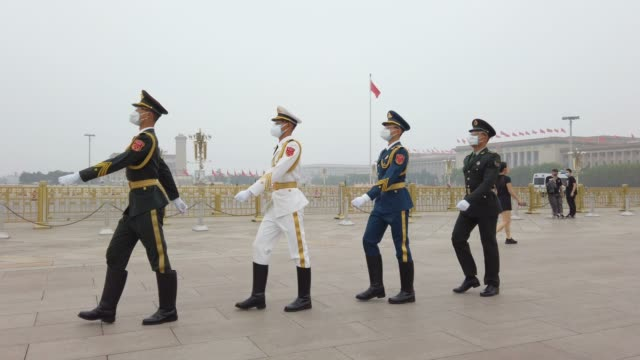 honor guard in tiananmen square,beijing,china. - beijing stock videos & royalty-free footage