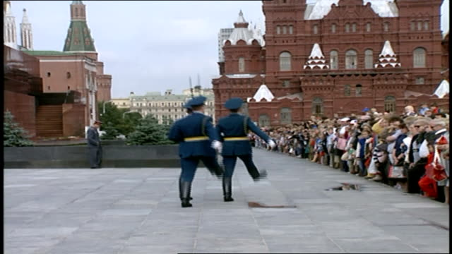honor guard marching past lenin's tomb - moscow russia stock videos & royalty-free footage