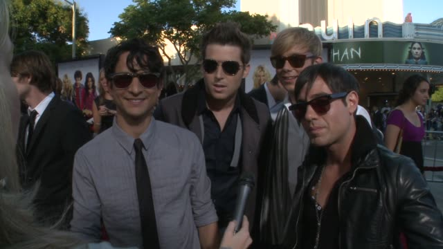 Honor Society about the song on the soundtrack what kind of music they have and how they are on two tours right now at the 'Bandslam' Premiere at...