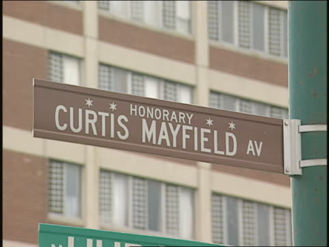 honorary curtis mayfield ave street sign in chicago - 1996 stock videos & royalty-free footage