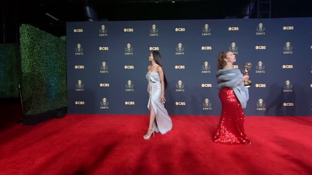 honoree debbie allen, recipient of the governors award, and kylie marie jefferson poses in the press room during the 73rd primetime emmy awards at... - emmy awards stock videos & royalty-free footage