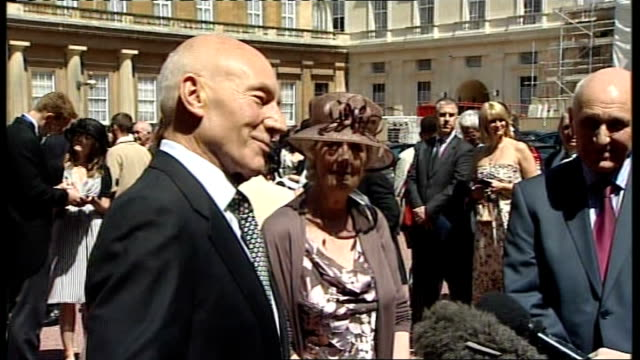 Buckingham Palace investiture ceremony Jenson Button and Patrick Stewart Sir Patrick Stewart interview SOT describes receiving Knighthood and...