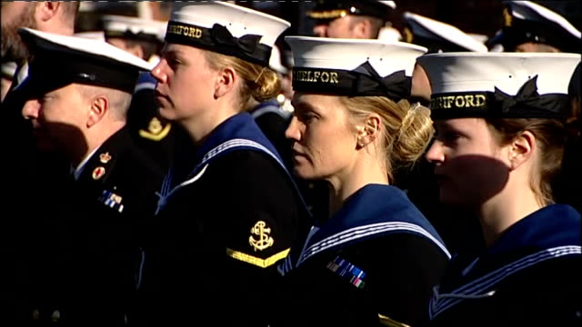 honours handed out for acts of gallantry lib / hampshire portsmouth hms excellent ** band playing music sot** various of michelle ping lined up with... - hampshire stock-videos und b-roll-filmmaterial