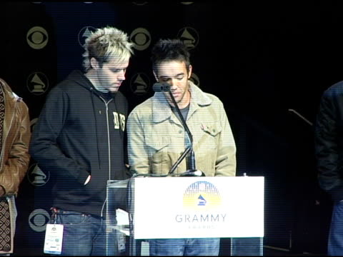 hoobastank announces the grammy award nominees in the catagory best rap album at the 2004 grammy awards nominations at the henry fonda music box... - ノミネート点の映像素材/bロール