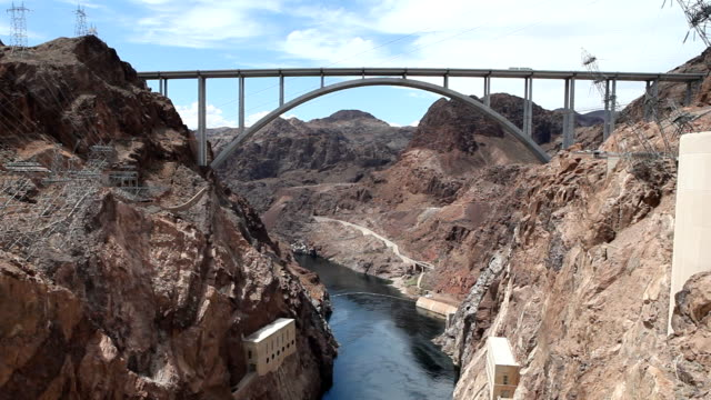 hoover dam bypass bridge - clark county nevada stock videos and b-roll footage