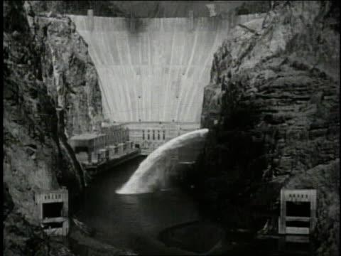 1940 ws hoover dam / nevada arizona border, united states - lake mead video stock e b–roll