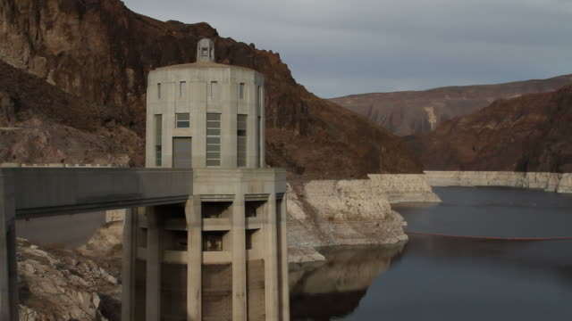 hoover dam water in take tower - hoover dam stock videos and b-roll footage