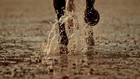 vidéos et rushes de slo mo sabots de cheval de course frappant le sol humide - cheval