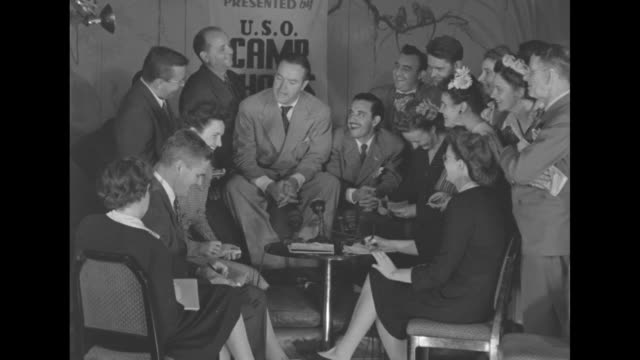 WS Hope chatting with reporters / CU Hope stressing the importance of buying war bonds if you folks have any spare money around