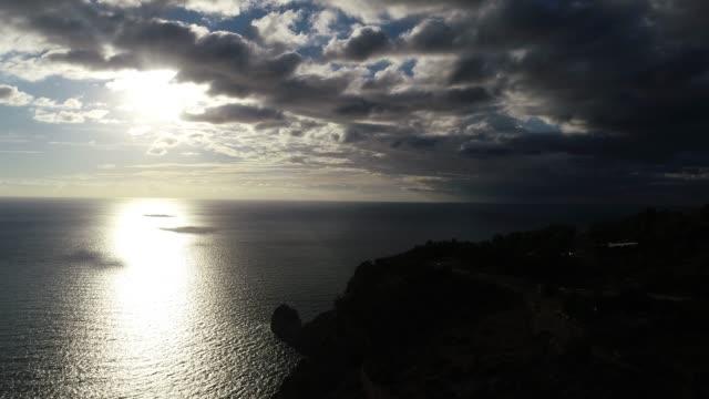 Horizon of Mediterranean sea aerial view
