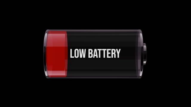 vídeos de stock e filmes b-roll de ms horizontal animation of the battery on low energy - baixo