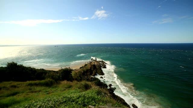horizontal shot of cape byron, australia - the end stock videos & royalty-free footage