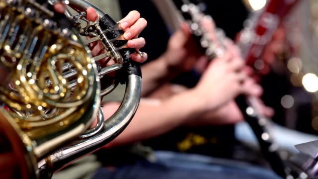 vídeos y material grabado en eventos de stock de bocina reproductor de orquesta sinfónica - instrumento de viento