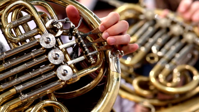 horn player in symphony orchestra - orchestra stock videos & royalty-free footage