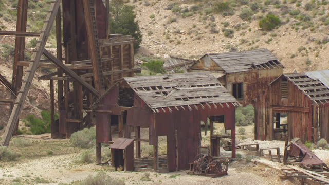 ms aerial zo horn silver mine at old frisco mining town / utah, united states - utah stock videos & royalty-free footage