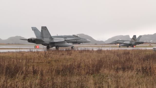 hornet's from 401 tactical fighter squadron, royal canadian air force take off for a familiarization flight in bodo, norway in preparation for... - nordland county stock videos & royalty-free footage