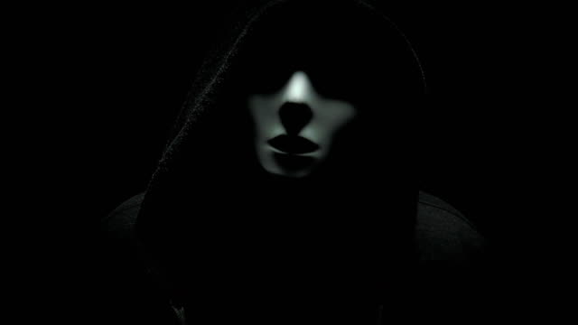 horror man in mask and hood - negative emotion stock videos & royalty-free footage