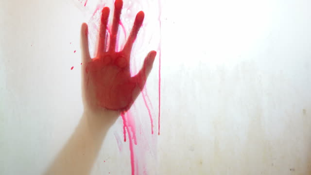 horror woman behind the matte glass blood stain - prisoner stock videos & royalty-free footage