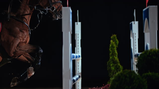 SLO MO Horse and his rider jumping over an oxer