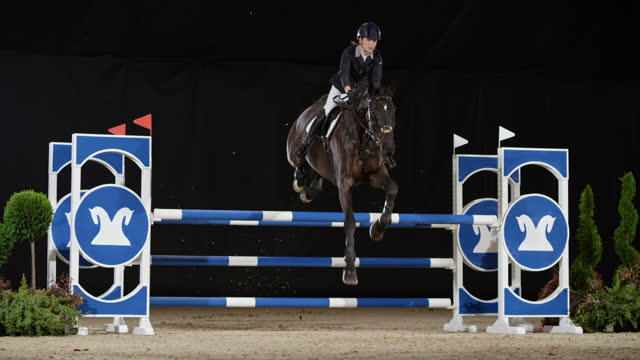 slo mo horse and rider jumping over an oxer - bridle stock videos & royalty-free footage