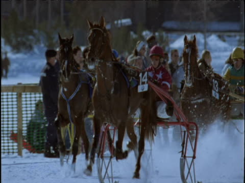Horse and sleigh race on snow track St Moritz