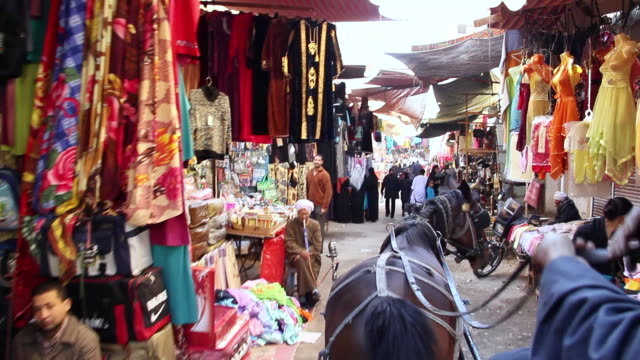 MS POV Horse carriage moving through bazaar and past clothing stands / Luxor, Egypt