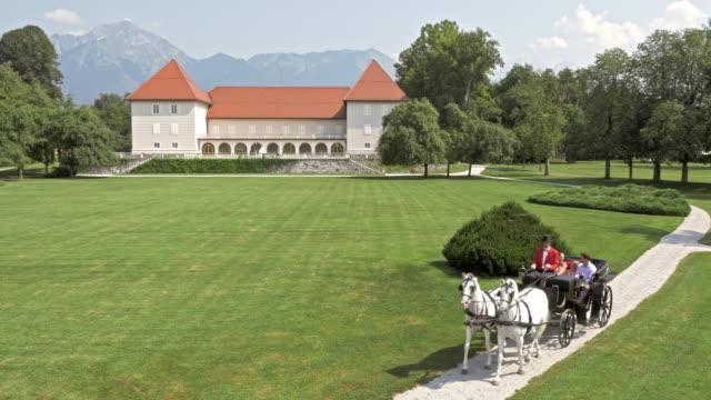 stockvideo's en b-roll-footage met luchtfoto paard en wagen rijden in een kasteelpark - koets