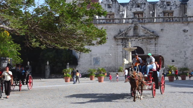 ms horse carriages and tourists walking at san francisco square / havana, cuba - horsedrawn stock videos & royalty-free footage