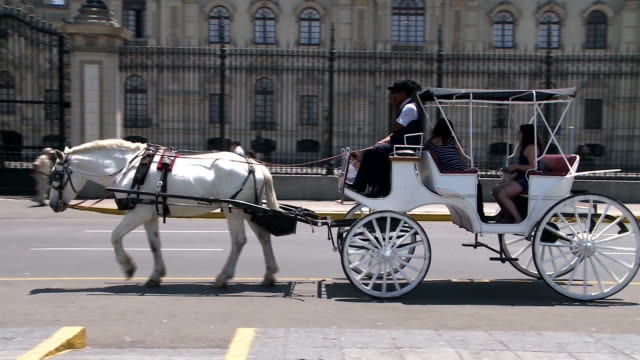 horse cart passing in lima, peru - lima peru stock videos and b-roll footage