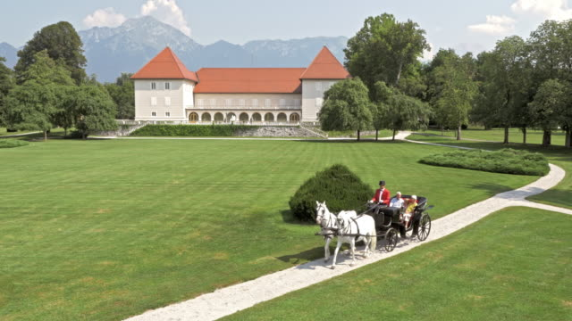 stockvideo's en b-roll-footage met luchtfoto paard getrokken vervoer gaan door het kasteelpark - koets