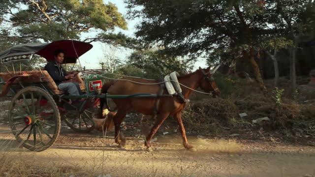 ws ts horse drawn carriage on dirt road, passing by ancient temple at sunset / burma - tornspira bildbanksvideor och videomaterial från bakom kulisserna
