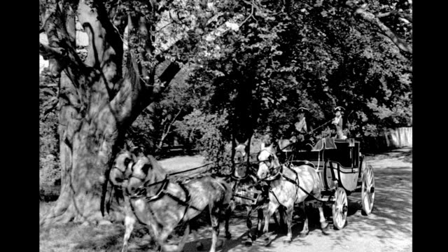 vidéos et rushes de horse drawn carriage rides along country road, driver and man wearing tricornered hats. horse drawn carriage rides along country road on january 01,... - style du xviiième siècle