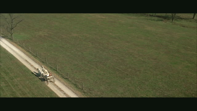 aerial ws horse drawn carriage riding on rural road - kutsche stock-videos und b-roll-filmmaterial