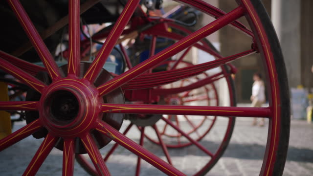 cu horse drawn wheel / rome, italy - horsedrawn stock videos & royalty-free footage