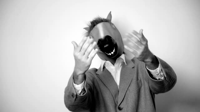 horse head mask. black and white - beckoning stock videos & royalty-free footage
