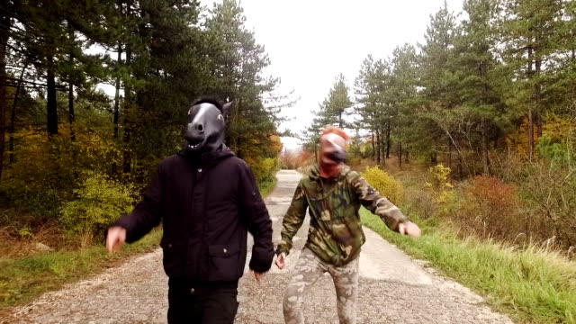 Horse head mask. Slow motion.