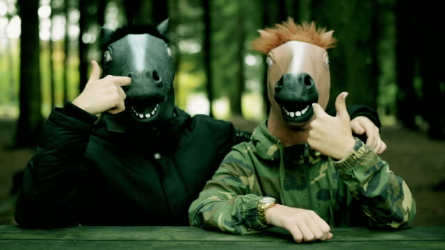 horse head mask. - animal head stock videos & royalty-free footage
