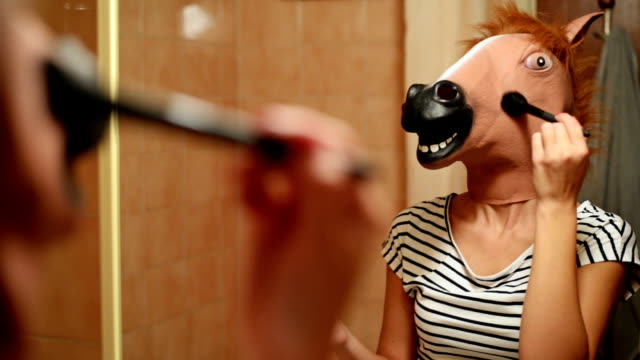 horse head mask. - blusher make up stock videos and b-roll footage