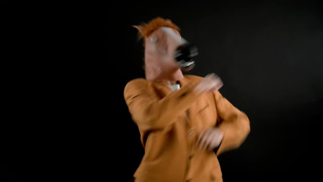 horse head mask - mask disguise stock videos and b-roll footage