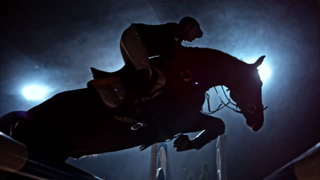 SLO MO Horse jumping an oxer in arena at night