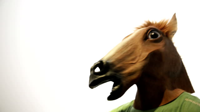 Horse mask. Funny video.