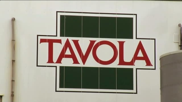 report from luxembourg luxembourg capellen tavola food factory close shot name 'tavola' on factory gvs factory - damon green stock videos and b-roll footage