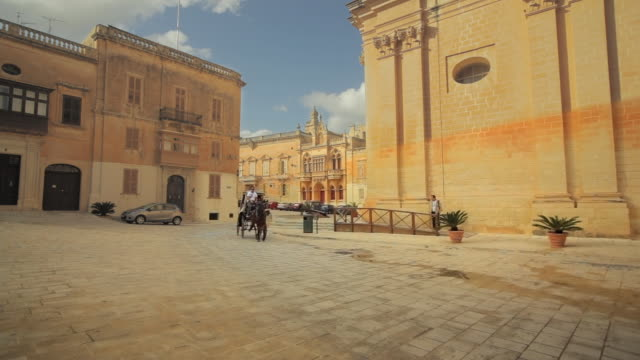 ws horse pulling cart in piazza st. paul / mdina, malta - horsedrawn stock videos & royalty-free footage