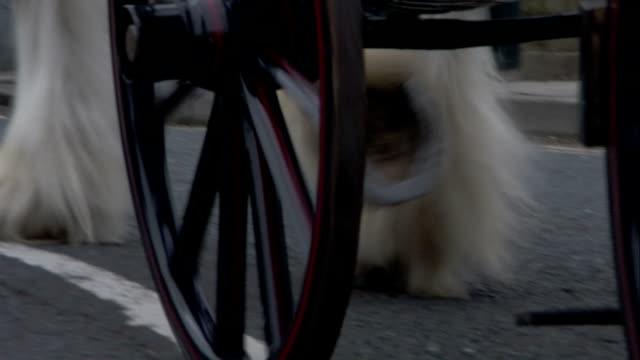 vídeos de stock, filmes e b-roll de a horse pulls a black carriage through a neighborhood street of saltaire, england. available in hd. - estilo século dezenove