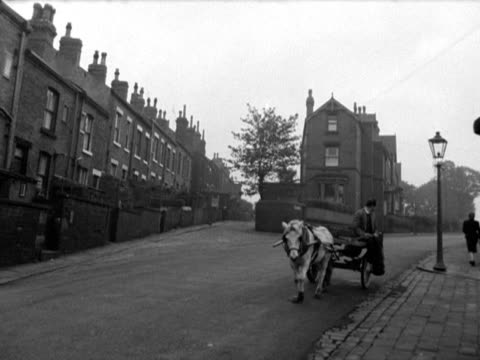 a horse pulls a rag and bone man and his cart along a quiet street in leeds - ぞうきん点の映像素材/bロール