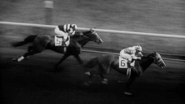 horse race at arlington park / spectators in grandstand horses out of the starting gate / horse comes from behind / last stretch passing leader... - starting gate stock videos and b-roll footage